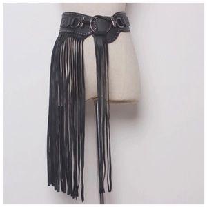Accessories - 🆕 Black Vegan Leather Fringe Belt